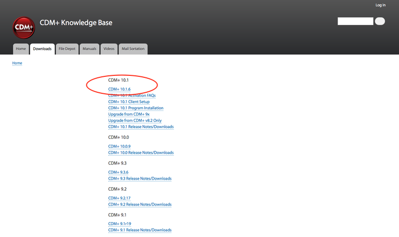 Downloads page from CDM+ Knowledge Base