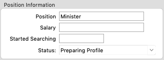 Ministry Position Information