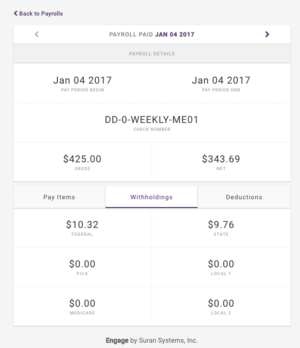 Engage Paycheck detail Withholdings Tab