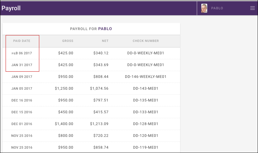 Engage Payroll Check Listing
