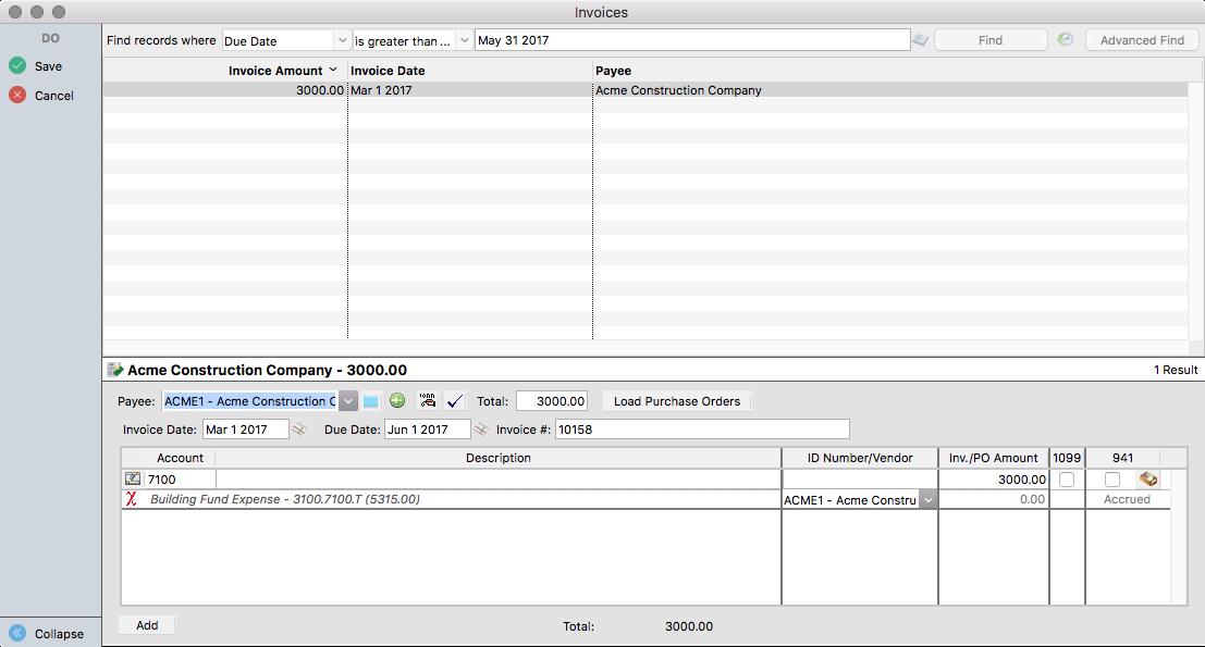 An accrued invoice in CDM+ Accounts Payable