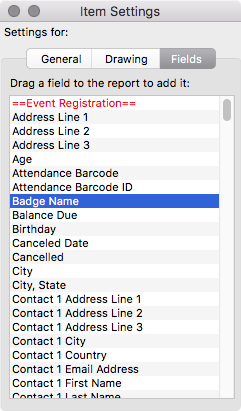 Customize your name badge with fields from your CDM+ database