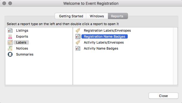 Event Registration - Reports - Name Badges