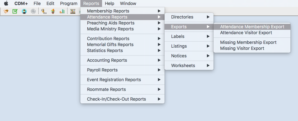 Export options are available from the Reports menu
