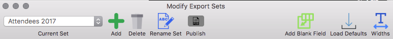 Sets toolbar