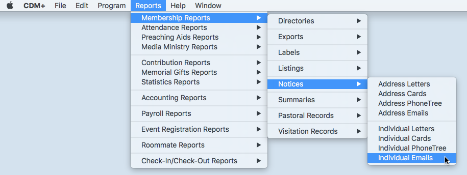 Example of Selecting a Report from the Menu