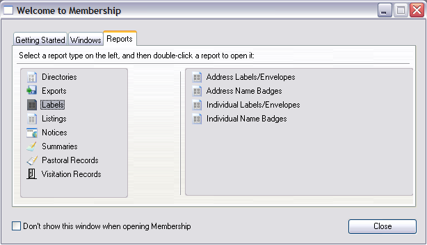 Example of Selecting a Report from a Welcome to [Program] window