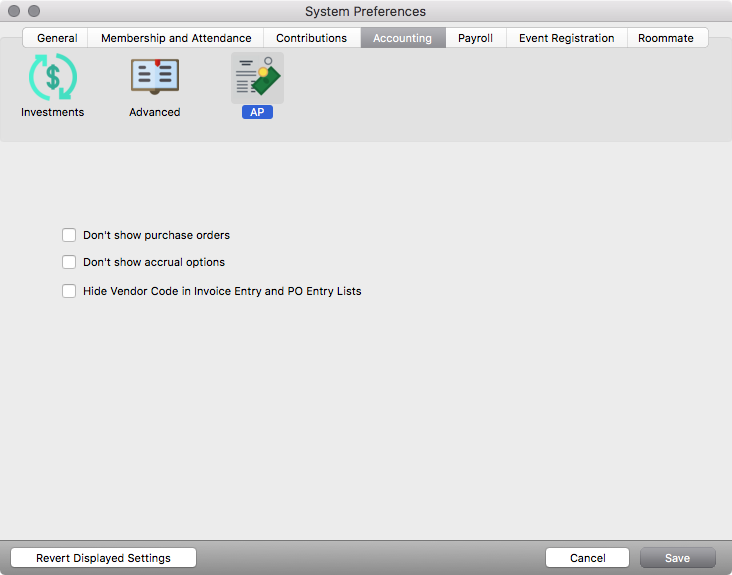 Accrual Accounting must be enabled in System Preferences