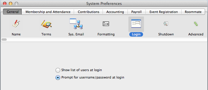 CDM+ System Preferences - General tab, Login icon, Prompt for username/password at login