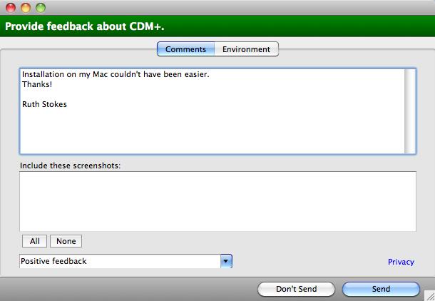 Provide CDM+ Feedback - Comments