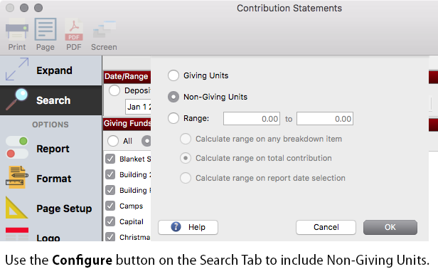 Configure CDM+ to print statements for non-giving units