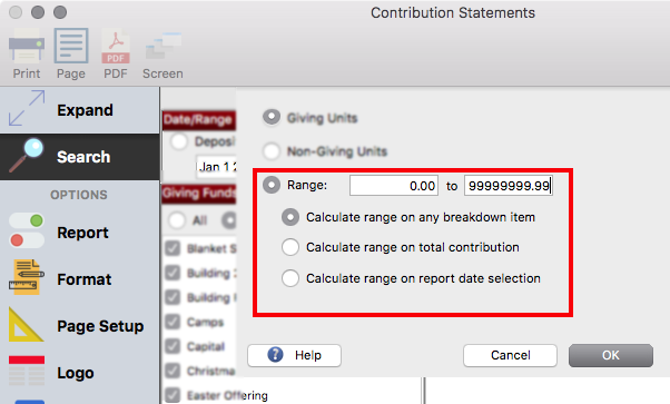 Configure CDM+ to print statements for ALL giving units