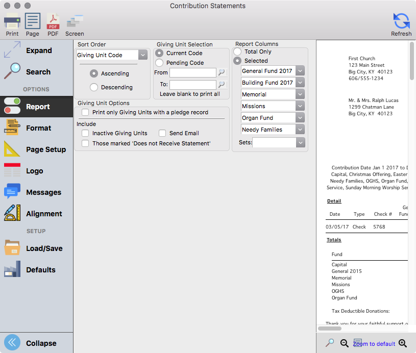 The Report tab of the Giving Statements report setup window