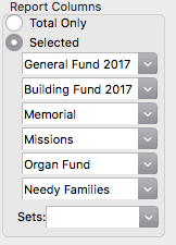 Detail up to six Giving Funds in columnar format on Giving Statements