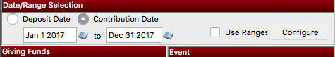 Choose the date range for your Giving Statements