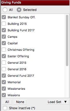 Choose which Giving Funds will be included