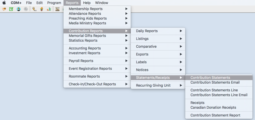 Available reports in CDM+ Contributions