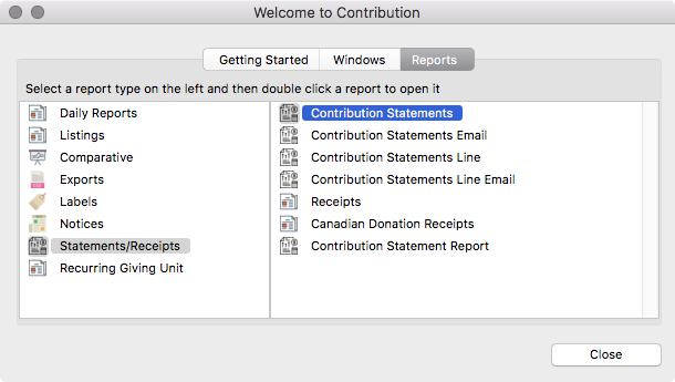 Report Tab of the Welcome to Contributions Window