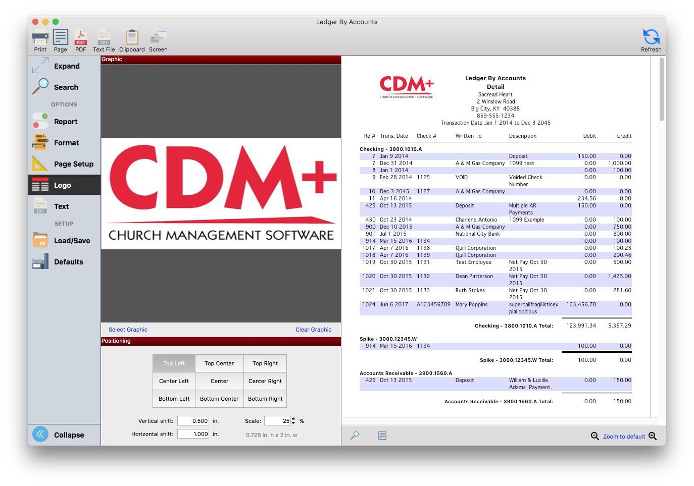 Logos can now be added to most reports in CDM+