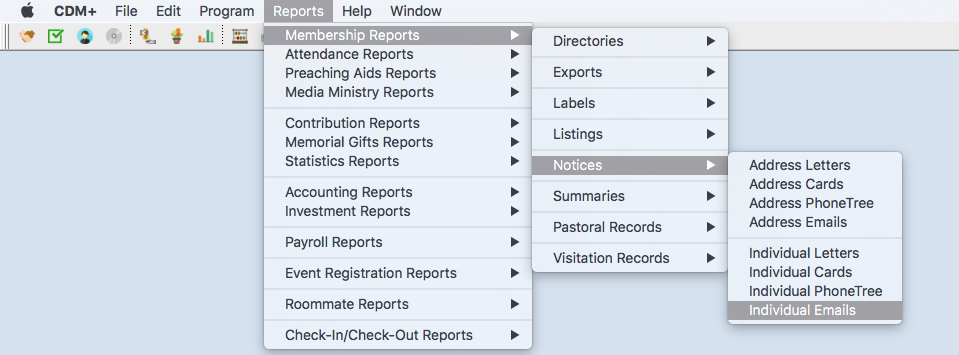 Sample Reports Menu showing reports within a type