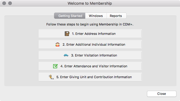 Welcome to Membership window (Getting Started pane)