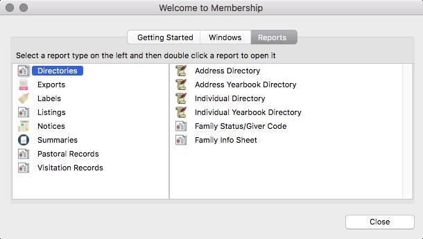 Welcome to Membership window (Reports tab)
