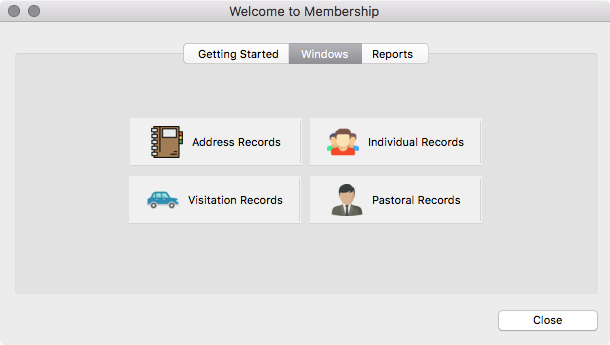 Welcome to Membership window (Windows pane)