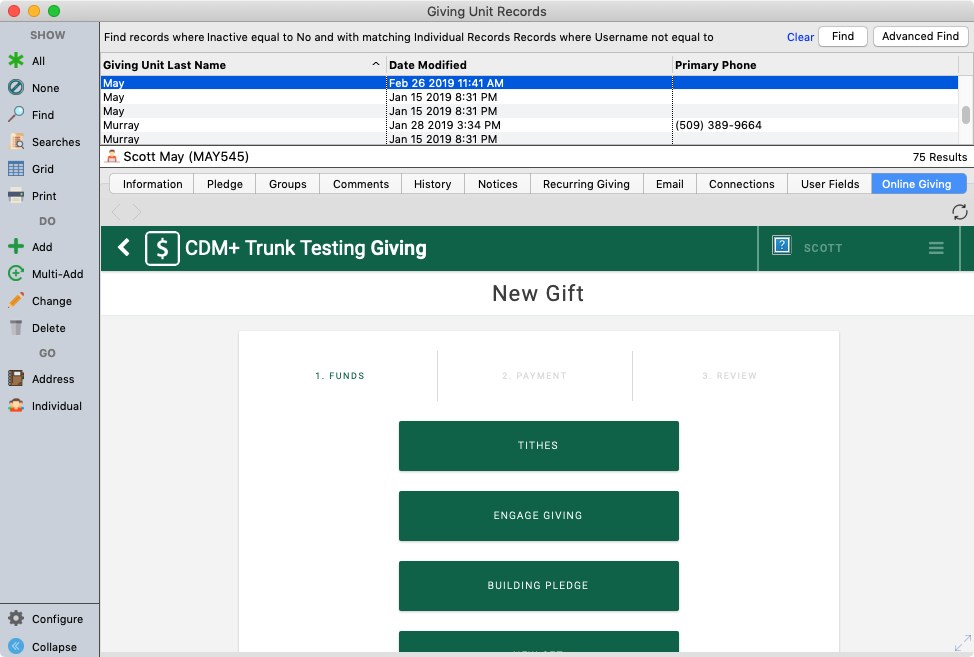 Online Giving on the Giving Unit Record