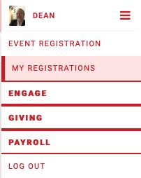 Engage Events navigation menu