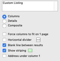 Custom Listing Options