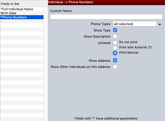 Phone number parameters in custom listing sets