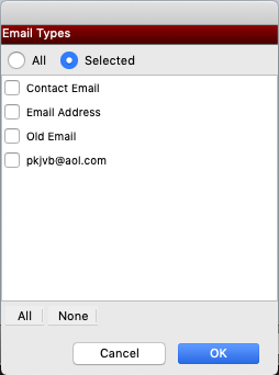 Select Email Address Types