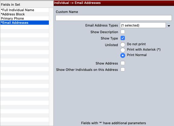 Modify Export Sets - Email Addresses